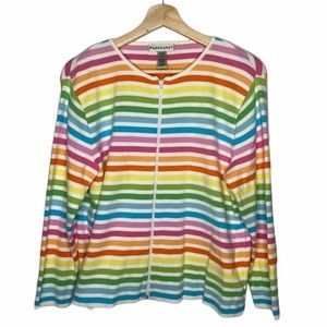Rainbow striped Zip up Sweater